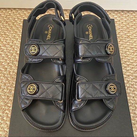 Black Leather And Velcro Sandals Sz 39